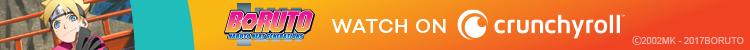 Boruto Uzumaki de BORUTO: NARUTO NEXT GENERATIONS sonríe ante un banner publicitario de Crunchyroll.