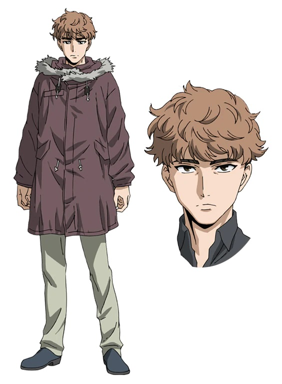 A character setting of Mamoru Aikawa, a young man with light brown hair and a parka jacket, from the upcoming High-Rise Invasion Netflix Original Anime.