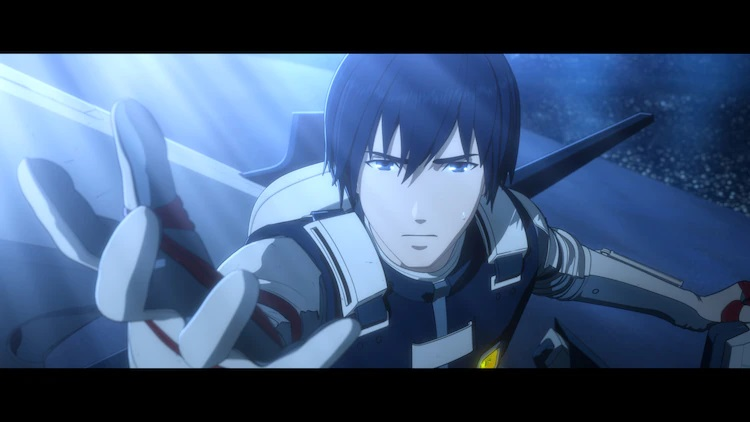 Protagonist Nagate Tanizaki stretches forth his hand with a determined expression on his face in a scene from the upcoming Knights of Sidonia: Ai Tsumugu Hoshi theatrical anime film.