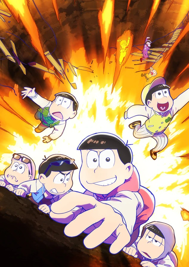 A key visual for the third season of the Mr. Osomatsu TV, featuring the six Matsuno siblings clinging to the side of a cliff and attempting not to fall into an active volcano.