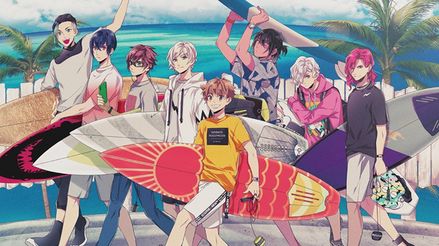 A promotional image for the WAVE!! mixed media project, featuring the main characters in casual beach clothing, carrying their surfboards.