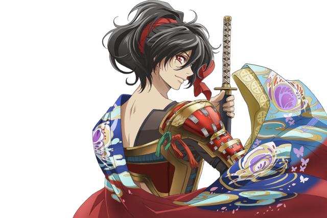Young Oda Nobunaga brandishes a katana and flourishes his kimono.