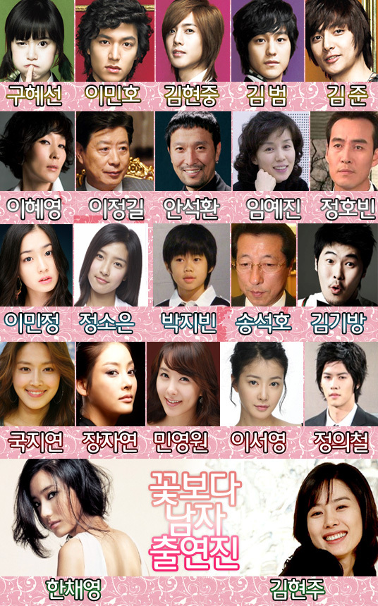 The official cast of Boys Before Flowers