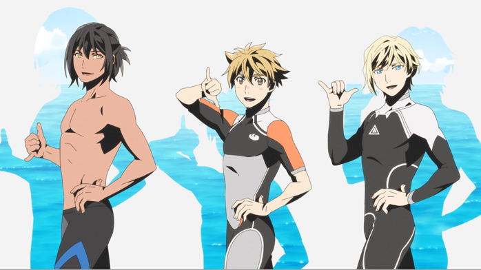 Three surfers flash the shaka sign in a scene from the opening animation for the WAVE!! Surfing Yappe!! three-part theatrical anime film.