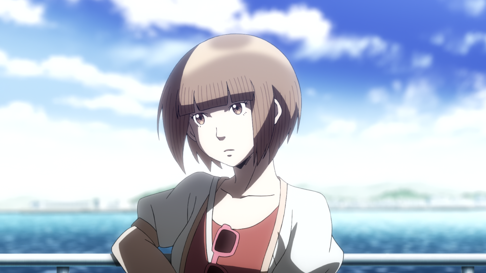 Protagonist Moe aboard a ship on the way to the island in The Perfect Insider