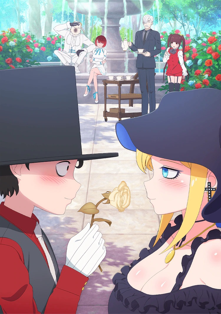 A new key visual for the upcoming The Duke of Death and His Maid TV anime, featuring the main characters - Bocchan and Alice - in the foreground of a lovely flower garden while the supporting cast lingers and looks on near a fountain in the background. Bocchan presents Alice with a withered rose, while Alice smiles gently.