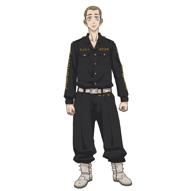 Un escenario de personajes de Ryohei Hayashi, un delincuente con cabello castaño corto y ojos muy abiertos del próximo anime de televisión Tokyo Revengers.