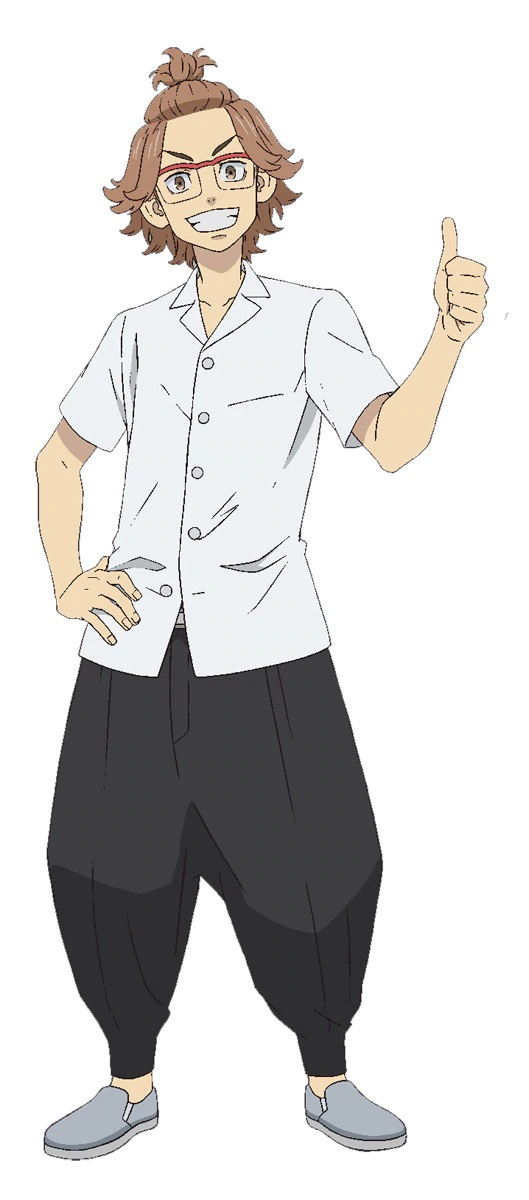 A character setting of Kazushi Yamagishi, a delinquent with glasses and his light brown hair pulled up into a topknot from the upcoming Tokyo Revengers TV anime.