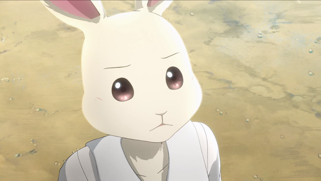 Haru scowls at the female animals that are bullying her in a scene from the BEASTARS TV anime.