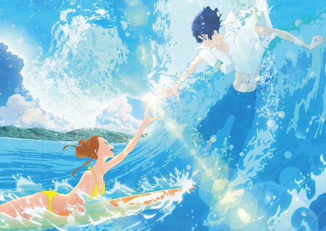 A promotional image for the Ride Your Wave theatrical anime film, featuring main characters Hinako and Minato reaching for one another amidst a crashing ocean wave.