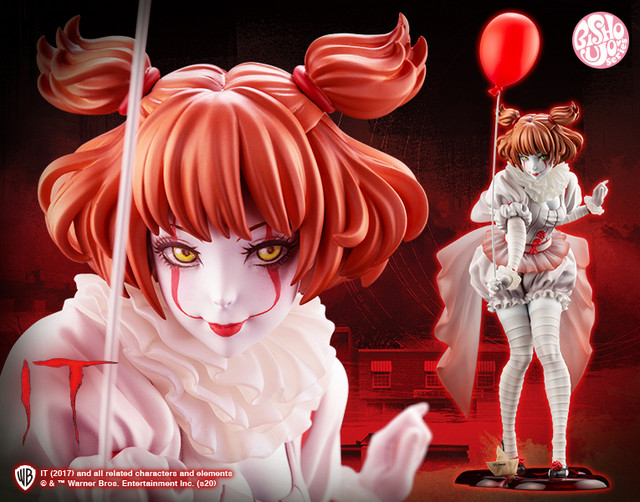 A banner image promoting the Bishoujo Horror Pennywise figure from Kotobukiya, featuring a cute anime girl version of Pennywise the Dancing Clown from the IT movie adaptations.