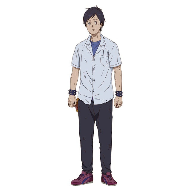 A character visual of Fukuyama, a casually-dressed young man with spiked bracelets from the upcoming Dorohedoro TV anime.