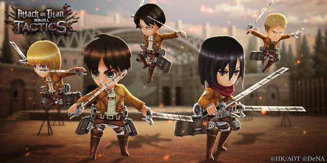Armin, Eren, Levi, and Mikasa in chibi form prepare to wreck some Titan neck in the Attack on Titan: TACTICS social game.