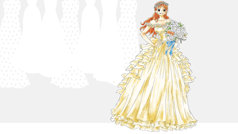 Nami in a specially designed wedding dress