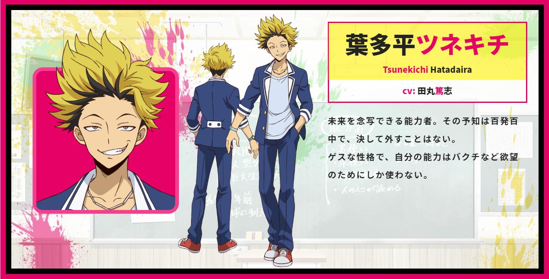 A character setting of Tsunekichi Hatadaira from the upcoming Talentless Nana TV anime.