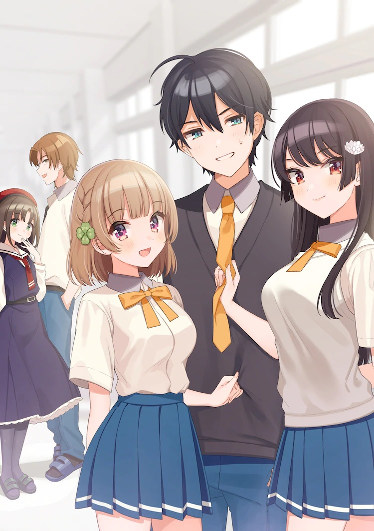 A key visual for the upcoming Osanajimi ga Zettai Makenai Love Comedy TV anime, featuring the main cast hanging out in a high school setting.