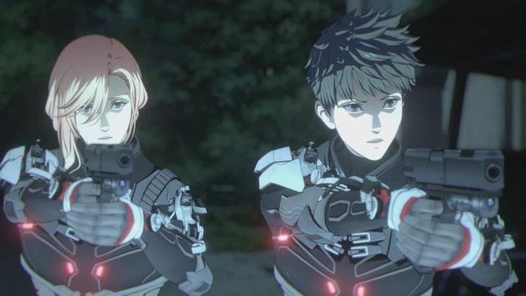 Brothers Takuya and Yuuya Kuroki hunt renegade psychics while brandishing pistols and wearing advanced body armor in a scene from the upcoming NIGHT HEAD 2041 TV anime.