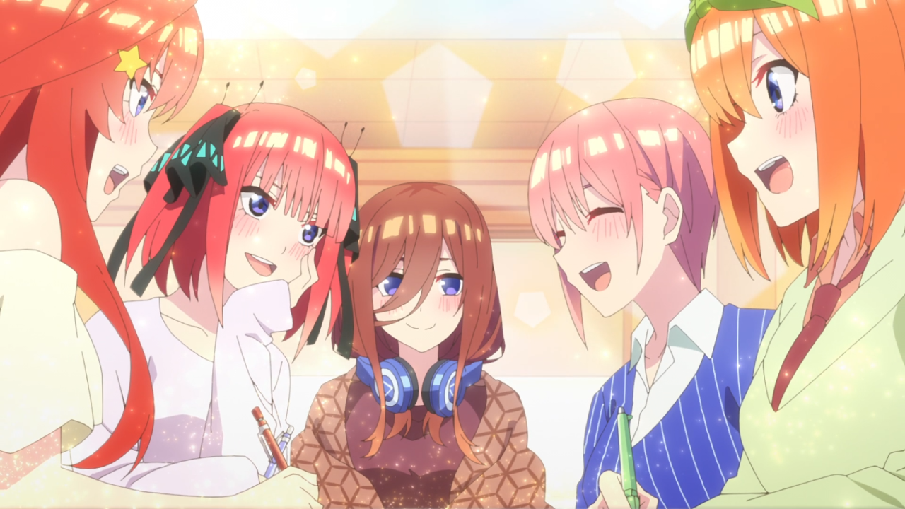 Nakano Sisters laughing and smiling in Quintessential Quintuplets
