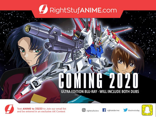 An advertisement for RightStuf's special edition Bluray release of Mobile Suit Gundam SEED.