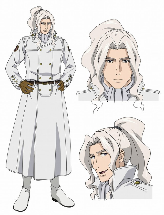 Miles, an Incarnate Soldier, has a mane of white hair that is pulled back into a pony tail.