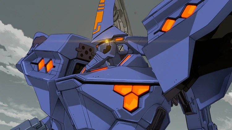 A TSF mecha tears across the battlefield in a scene from the trailer for the upcoming Muv-Luv Alternative TV anime.