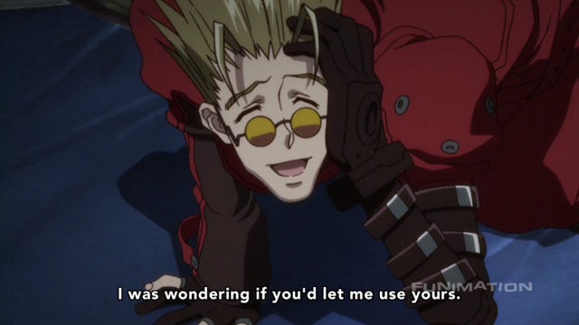A screenshot from the 2010 theatrical anime film Trigun: Badlands Rumble.