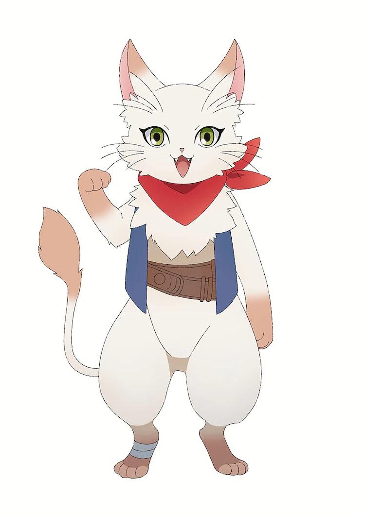 Un escenario de personajes de Albert, un gato humanoide con pelaje blanco y ojos verdes que lleva un pañuelo rojo, un chaleco azul y cinturones de cuero marrón, del próximo anime de televisión Dragon Goes House-Hunting.