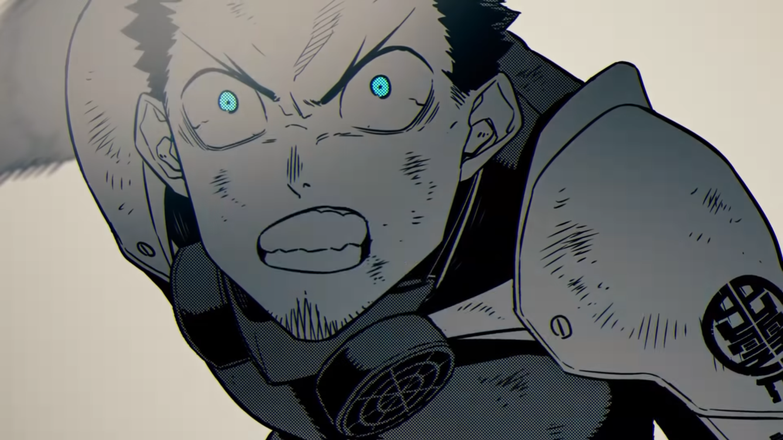 Kafka Hibino se prepara para transformarse en un kaiju para proteger a sus compañeros de equipo de cualquier daño en una escena del video de avance del cómic en movimiento que anuncia el manga Kaiju No. 8 de Naoya Matsumoto.
