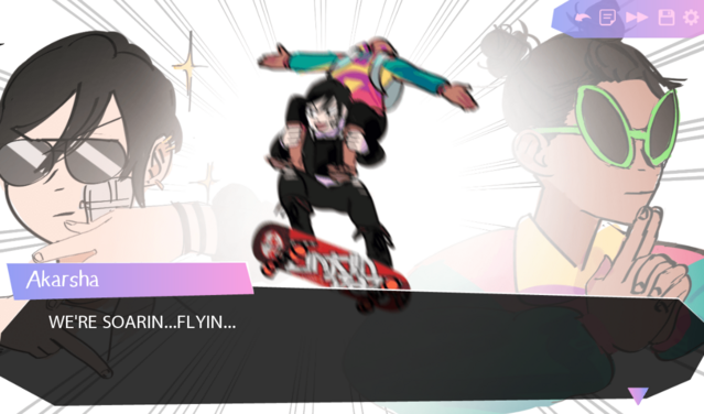 """Min manages to stand on the skateboard with Akarsha on her shoulders! """"WE'RE SOARIN....FLYIN....."""""""