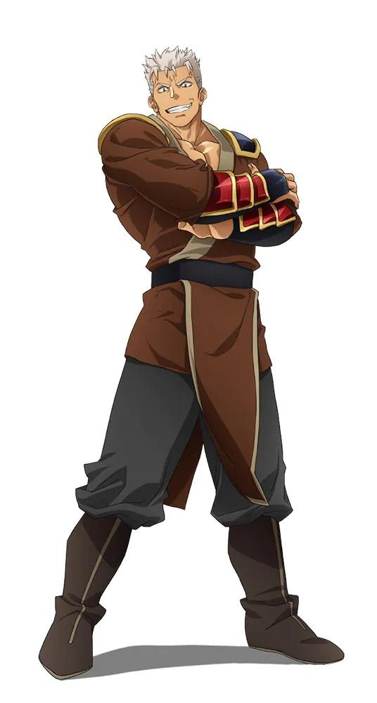 Un escenario de personajes de Danan del próximo anime de televisión Banished from the Hero's Party.  Danan es un hombre corpulento con cabello plateado, ojos rojos y una expresión cruel.  Viste ropa holgada y un conjunto de guanteletes de placas blindadas, y está de pie con los brazos cruzados y las piernas abiertas.