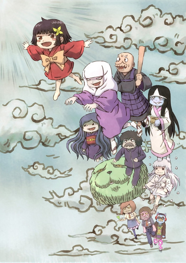 A key visual featuring the main cast of humans, ghosts, and yokai from the upcoming Zashiki-Warashi no Tatami-chan mini anime.