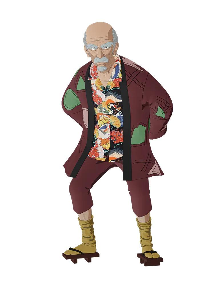 Un escenario de personajes de Jingo Negoro del próximo anime de televisión TESLA NOTE.  Jingo es un anciano con calvicie, cejas pobladas, bigote y barba de chivo.  Él luce una expresión ceñuda y está vestido con un kimono de verano, calcetines caídos y sandalias de madera.