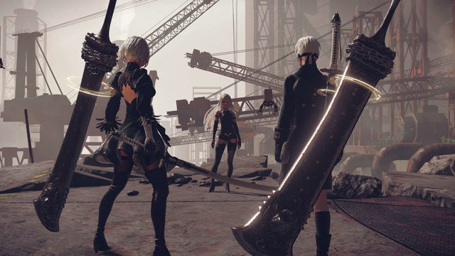 2B and 9S confront A2 in a desolate industrial zone in a scene from the NieR:Automata video game for PlayStation 4, PC, and Xbox One.
