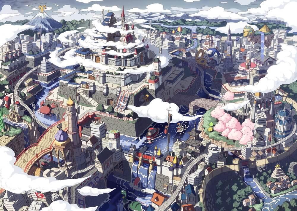 Una imagen clave para el próximo proyecto de anime 2D original de NINJAXIS, con ilustraciones de la metrópolis de relojería de la ciudad de Karakuri.