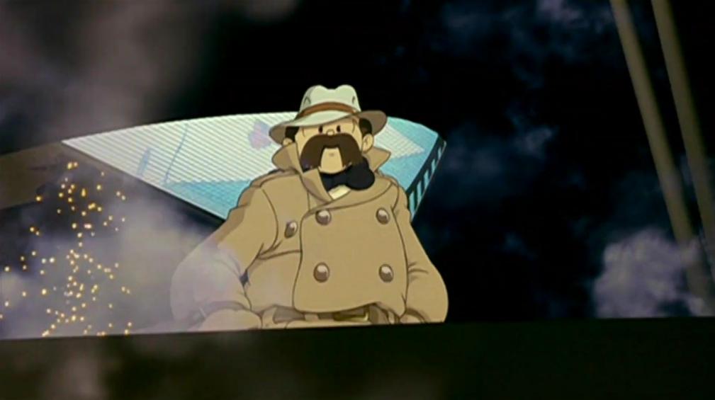 Shunsaku Ban observa la ciudad desde un dirigible en una escena de la película de anime teatral Metropolis de 2001.