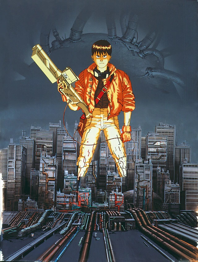 The movie poster for the landmark 1988 anime theatrical film, AKIRA, featuring Kaneda posing with a laser rifle against the backdrop of a cybernetic Neo Tokyo.