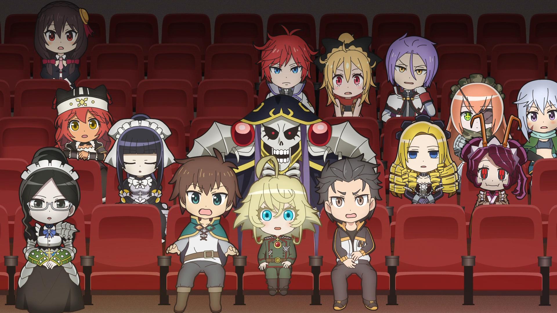 Los personajes de Overlord, Saga of Tanya the Evil, KONOSUBA -¡La bendición de Dios en este maravilloso mundo! Y Re: ZERO -Starting Life in Another World- llenan el auditorio de la escuela en una escena del anime de televisión Isekai Quartet.