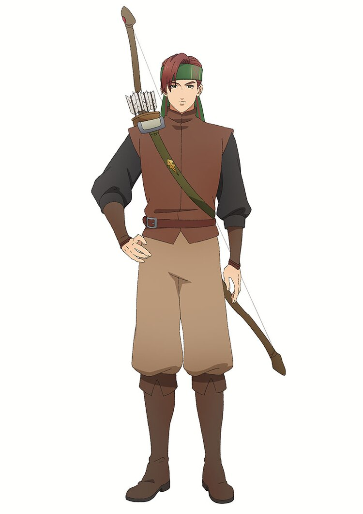 Un escenario de personaje de Archer, un aventurero con cabello castaño vestido con una armadura de cuero ligero y que lleva un arco y un carcaj de flechas atadas a su espalda, del próximo anime de televisión Dragon Goes House-Hunting.