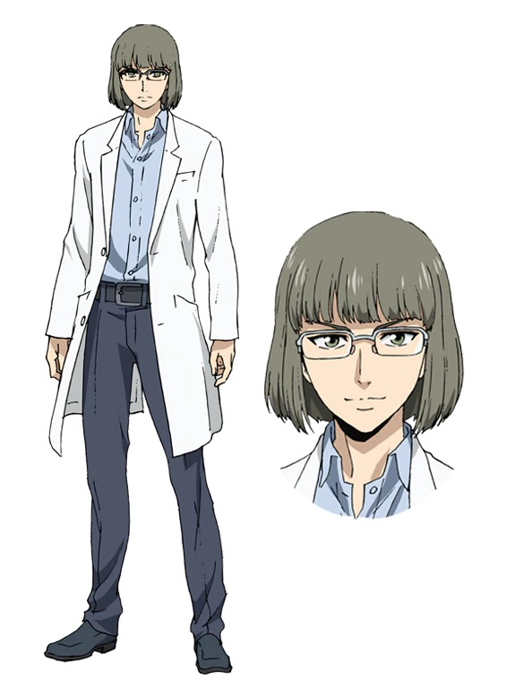 A character setting of Kazuma Aohara, a shady looking man in glasses and a white lab coat, from the upcoming High-Rise Invasion Netflix Original Anime.