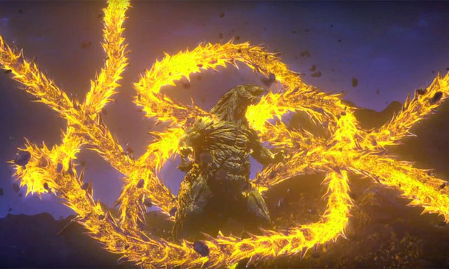 Godzilla Earth gets nommed on by an extra-dimensional King Ghidorah in Godzilla: The Planet Eater.