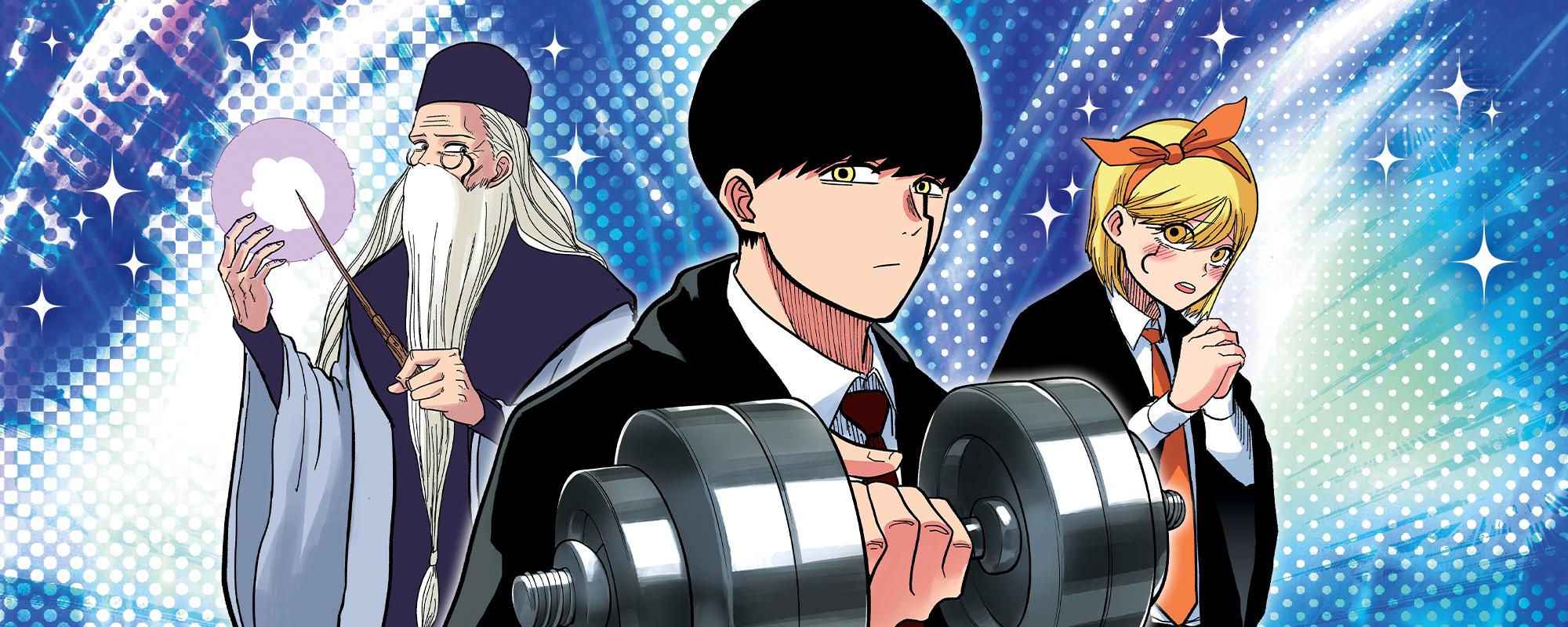 Una imagen de banner que anuncia el lanzamiento de Viz Manga de Mashle: Magic and Muscles, un manga cómico de fantasía de Hajime Komoto.