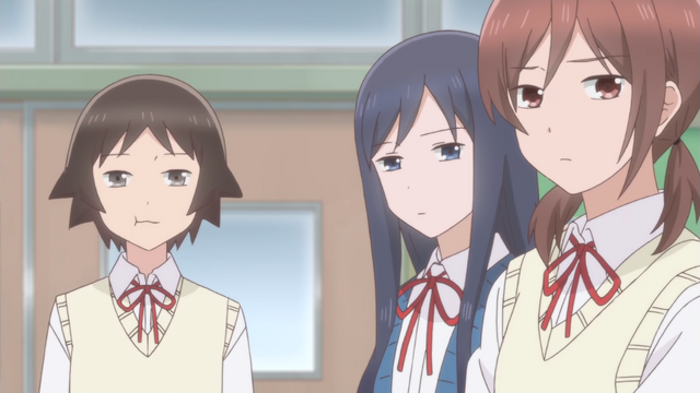Baka, Robo, and Ota stare forward with a mixture of indifferent and disdainful expressions.