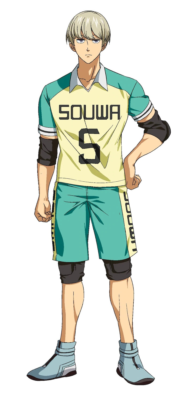 A character setting of Yuu Eikura, a member of the Souwa High School kabaddi club sporting fair colored hair and an indifferent expression from the upcoming Burning Kabaddi TV anime.