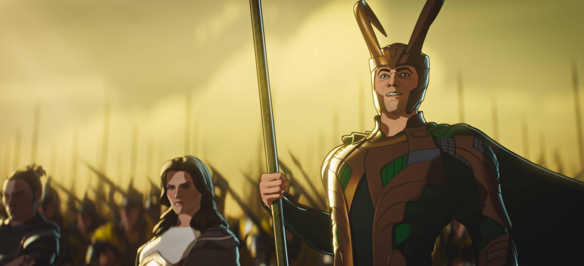 Una imagen promocional de la próxima película de Marvel What If ...?  Animación de TV 3DCG, con Loki liderando los ejércitos de Asgard en el campo de batalla.