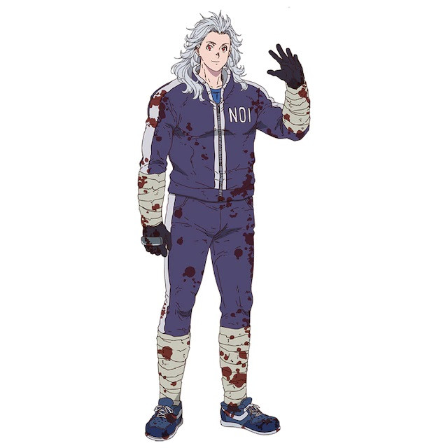 Noi, a tall, silver-haired woman in a motorcycle suit and bandages in the Dorohedoro TV anime.