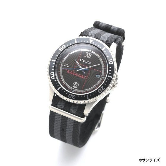 A promotional image of the SEIKO x Cowboy Bebop Wrist Watch, displaying the face of the watch, which features numbers in Roman numerals, Kanji, and Arabic numerals.