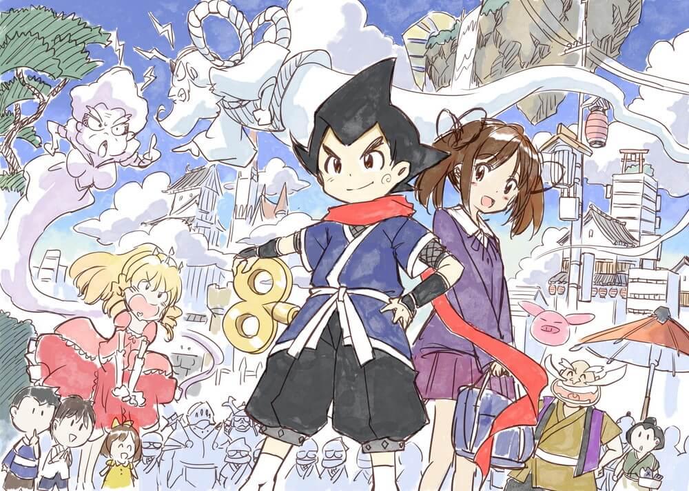 Una obra de arte conceptual para el proyecto de anime 2D original de NINJAXIS, con los personajes principales posando entre una multitud bulliciosa en la metrópolis mecánica de la ciudad de Karakuri.