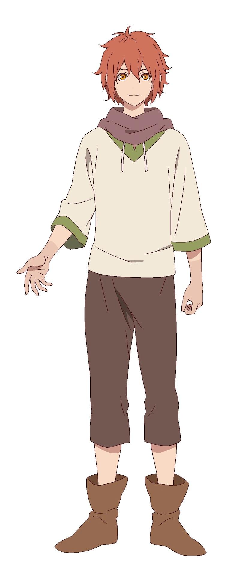 Un escenario de personajes para Will, el protagonista del próximo anime televisivo The Faraway Paladin.  Will es un joven esbelto de cabello rojo que está vestido como un campesino con una camisa sencilla, pantalones y botas.