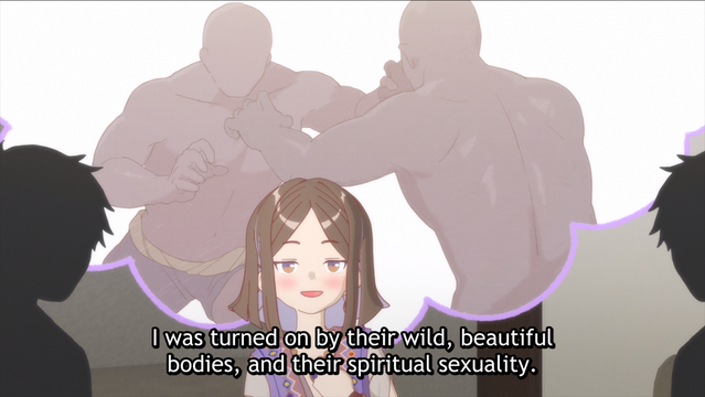 Tokiyo Himote bores her potential suitors senseless with a tale of Senegalese wrestling in a scene from HIMOTE HOUSE: A share house of super psychic girls.