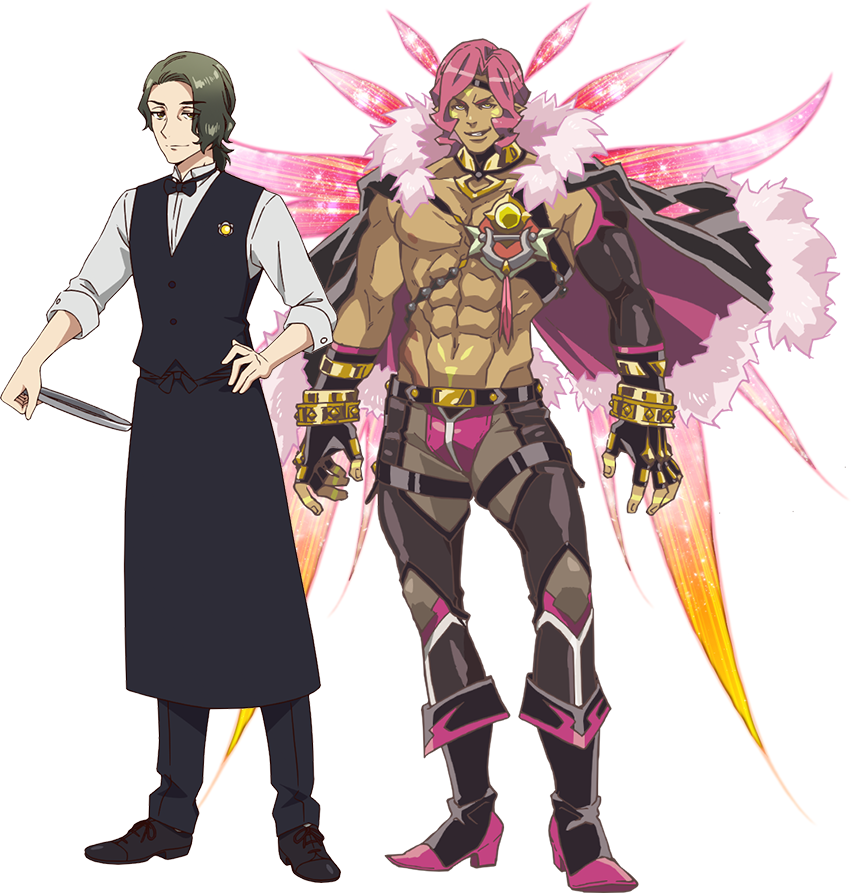 "A character setting of Takaro Utashiro and his ultra-buff ""Yousei"" form from the upcoming Fairy Ranmaru ~Anata no Kokoro Otasuke Shimasu~ TV anime."